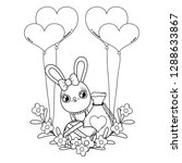 cute rabbit with balloons... | Shutterstock .eps vector #1288633867