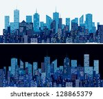 city skylines in two blue... | Shutterstock .eps vector #128865379