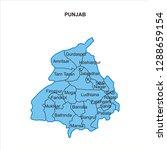 punjab map graphic   vector | Shutterstock .eps vector #1288659154