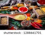 spices and seasonings on the... | Shutterstock . vector #1288661701