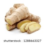 fresh ginger root isolated on... | Shutterstock . vector #1288663327