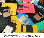 a pile of obsolete floppy disks | Shutterstock . vector #1288676527