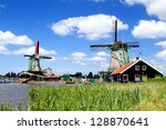 Traditional Dutch Windmilsl In...