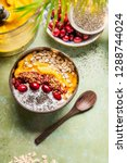 smoothie bowl with mango and ... | Shutterstock . vector #1288744024