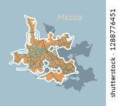 mecca map saudi arabia  sticker ... | Shutterstock .eps vector #1288776451