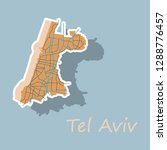 tel aviv sticker map  artprint. ... | Shutterstock .eps vector #1288776457