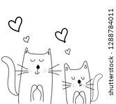 cute cat with heart vector... | Shutterstock .eps vector #1288784011