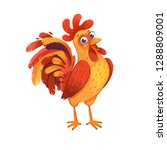 cute rooster. symbol of the... | Shutterstock . vector #1288809001