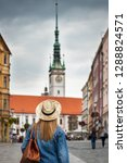 woman tourist with straw hat... | Shutterstock . vector #1288824571