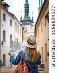 woman tourist with map on the... | Shutterstock . vector #1288824577