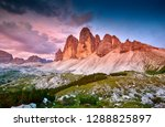 amazing view of the three peaks ... | Shutterstock . vector #1288825897