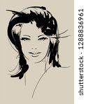 fashion girls face. woman face. ... | Shutterstock .eps vector #1288836961
