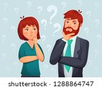thinking couple. thoughtful man ... | Shutterstock .eps vector #1288864747