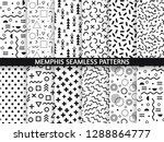 memphis seamless patterns.... | Shutterstock .eps vector #1288864777