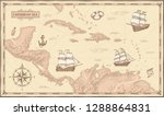 old caribbean sea map. ancient... | Shutterstock .eps vector #1288864831