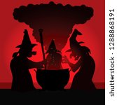 silhouette of three witch... | Shutterstock .eps vector #1288868191