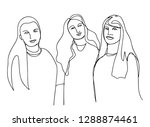 continuous line art or one line ... | Shutterstock .eps vector #1288874461