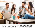 friends meeting at local coffee ... | Shutterstock . vector #1288887187