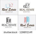 real estate icons over white
