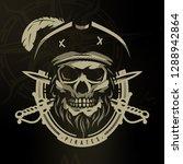 pirate skull in vintage style.... | Shutterstock .eps vector #1288942864