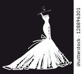 wedding dress vector   Shutterstock .eps vector #128896301