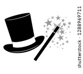 magic hat with magic wand icon... | Shutterstock .eps vector #1288969711