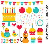 birthday party design vector... | Shutterstock .eps vector #128897555