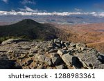 Small photo of Mendon Peak in Coolidge State Forest and Rutland Vermont from Killington Mountain Peak in the Fall