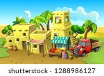 arab town. stone houses in the... | Shutterstock .eps vector #1288986127