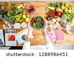 dietitian holding cooked salad... | Shutterstock . vector #1288986451