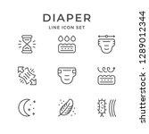 set line icons of diaper... | Shutterstock . vector #1289012344