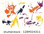 hand drawn set of colorful ink... | Shutterstock .eps vector #1289024311
