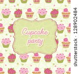 card with lace and cupcake. | Shutterstock .eps vector #128902484