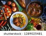 pig cheek recipe on wooden... | Shutterstock . vector #1289025481