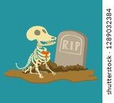 skull of dog in cemetery | Shutterstock .eps vector #1289032384