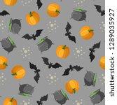 halloween seamless pattern... | Shutterstock .eps vector #1289035927