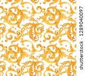 watercolor golden baroque... | Shutterstock . vector #1289040097