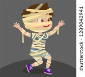 boy disguised as a mummy | Shutterstock .eps vector #1289042941
