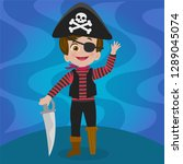 boy disguised as a pirate | Shutterstock .eps vector #1289045074