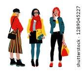 women's spring street style....   Shutterstock .eps vector #1289045227