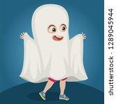 boy in ghost costume | Shutterstock .eps vector #1289045944
