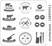 set of butcher shop labels and... | Shutterstock .eps vector #128905511