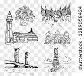 hand draw sketch landmark and...   Shutterstock .eps vector #1289058424
