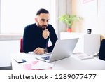 caucasian thoughtful... | Shutterstock . vector #1289077477