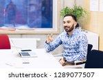young caucasian businessman... | Shutterstock . vector #1289077507