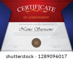 certificate red  grey and blue... | Shutterstock .eps vector #1289096017
