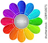 2014 Calendar On Rainbow Flowe...