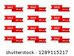 set of red ribbon sale icon... | Shutterstock .eps vector #1289115217