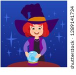 little witch with crystal ball | Shutterstock .eps vector #1289141734