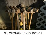 old croquet mallets in a rack ... | Shutterstock . vector #1289159344